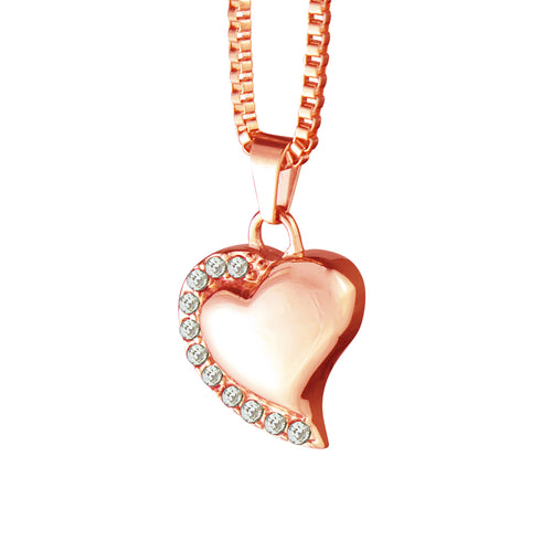 Rose Gold Heart with Crystals Cremation Urn Pendant - Optional Personalisation