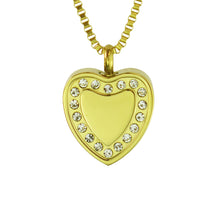 Crystal Gold Heart Cremation Urn Pendant - Optional Personalisation