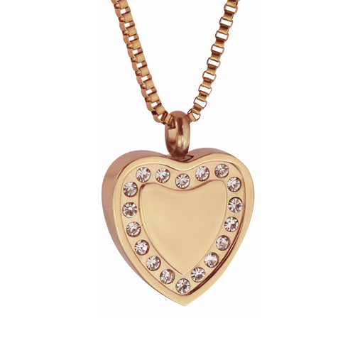 Crystal Rose Gold Heart Cremation Urn Pendant - Optional Personalisation