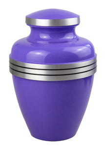 Large Aluminium Classic Purple and Silver Adult Urn