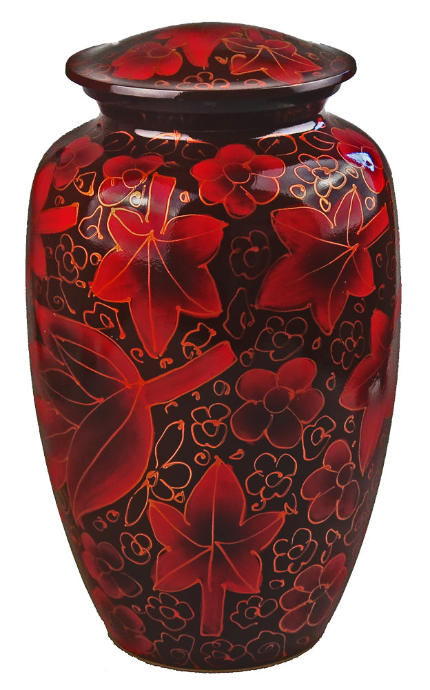 Large Aluminium Red and Gold Autumn Leaves Adult Urn