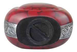 Large Red Teardrop Urn for Adult or Pet Dog Ash Cremains Memorial