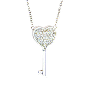 Sterling Silver Heart Key Cremation Urn Pendant