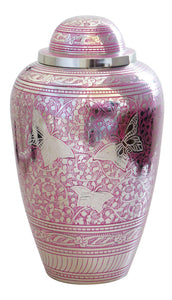Large Pink and Silver Butterfly Adult Brass Urn