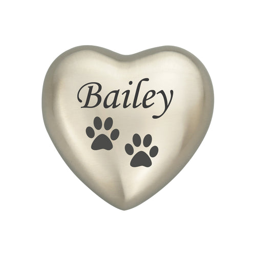 Personalised Paw Silver Heart Brass Keepsake Urn