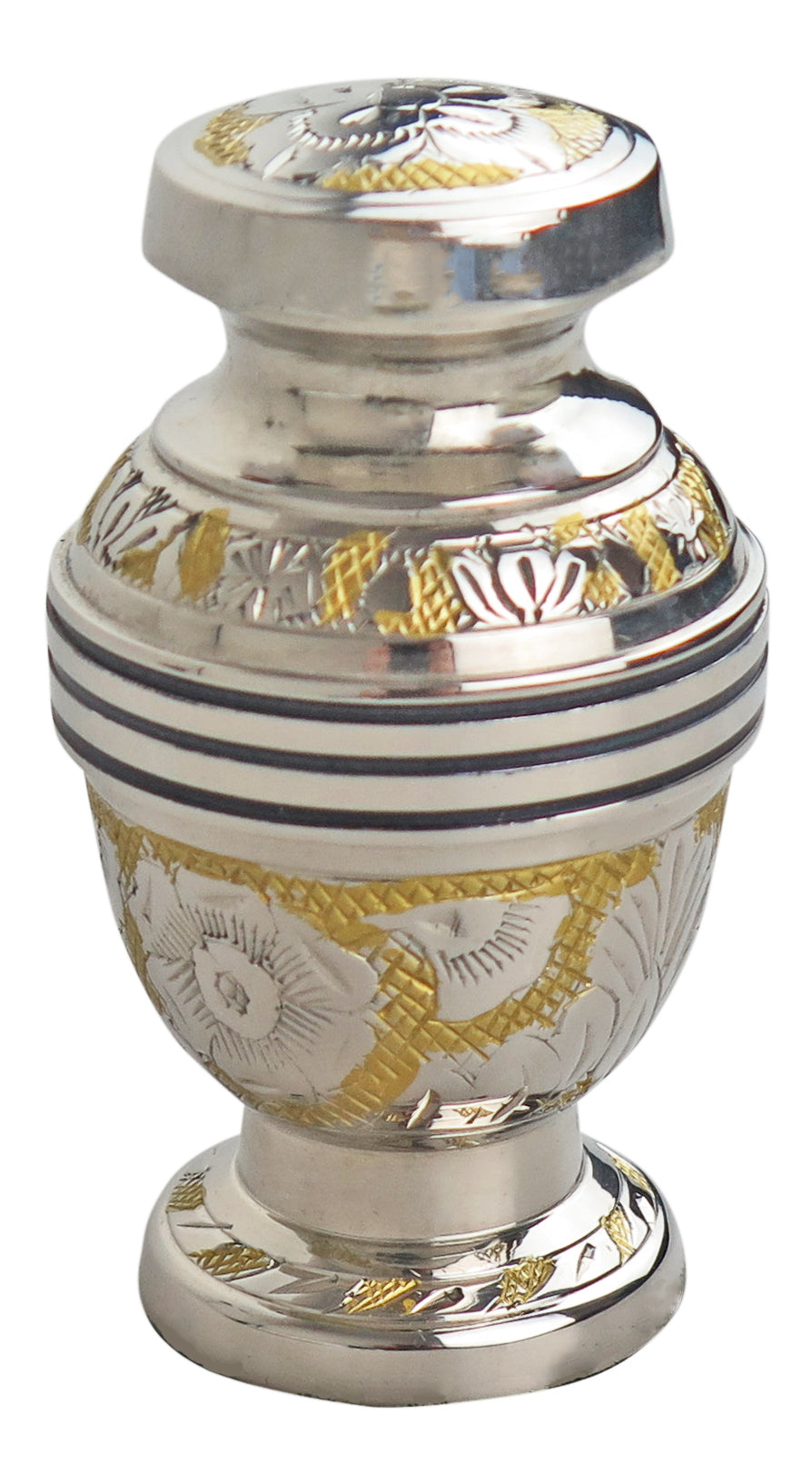 Miniature Silver and Gold Vintage Pattern Keepsake Urn