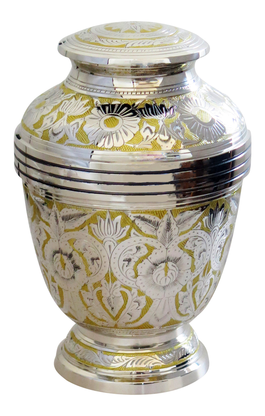 Large Silver and Gold Vintage Pattern Adult Brass Urn