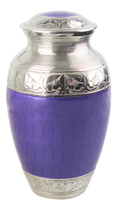 Large Silver with Purple Enamel Adult Brass Urn