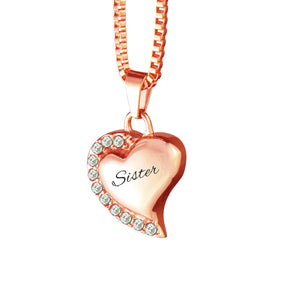 Sister Heart with Crystals Rose Gold Cremation Urn Pendant