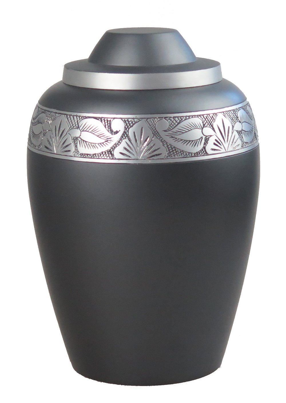 Large Aluminium Slate Grey Urn with Silver Pattern Adult Urn