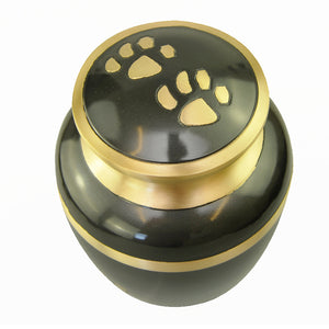 Slate Grey with Gold Paws Urn for Dog Cat Pet Cremation Ashes Cremains Memorial