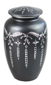 Large Aluminium Slate Grey Vintage Urn with Silver Pattern Adult Urn