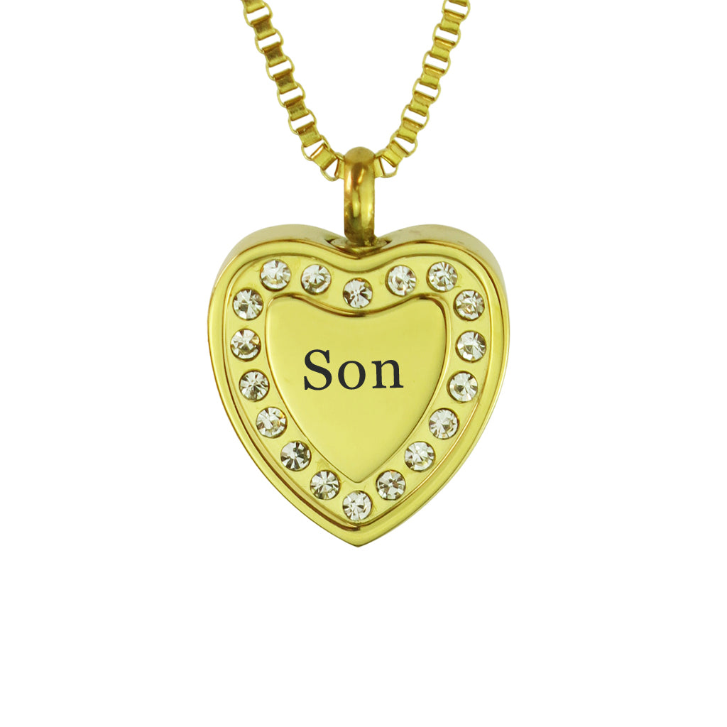 Son Crystal Gold Heart Cremation Urn Pendant