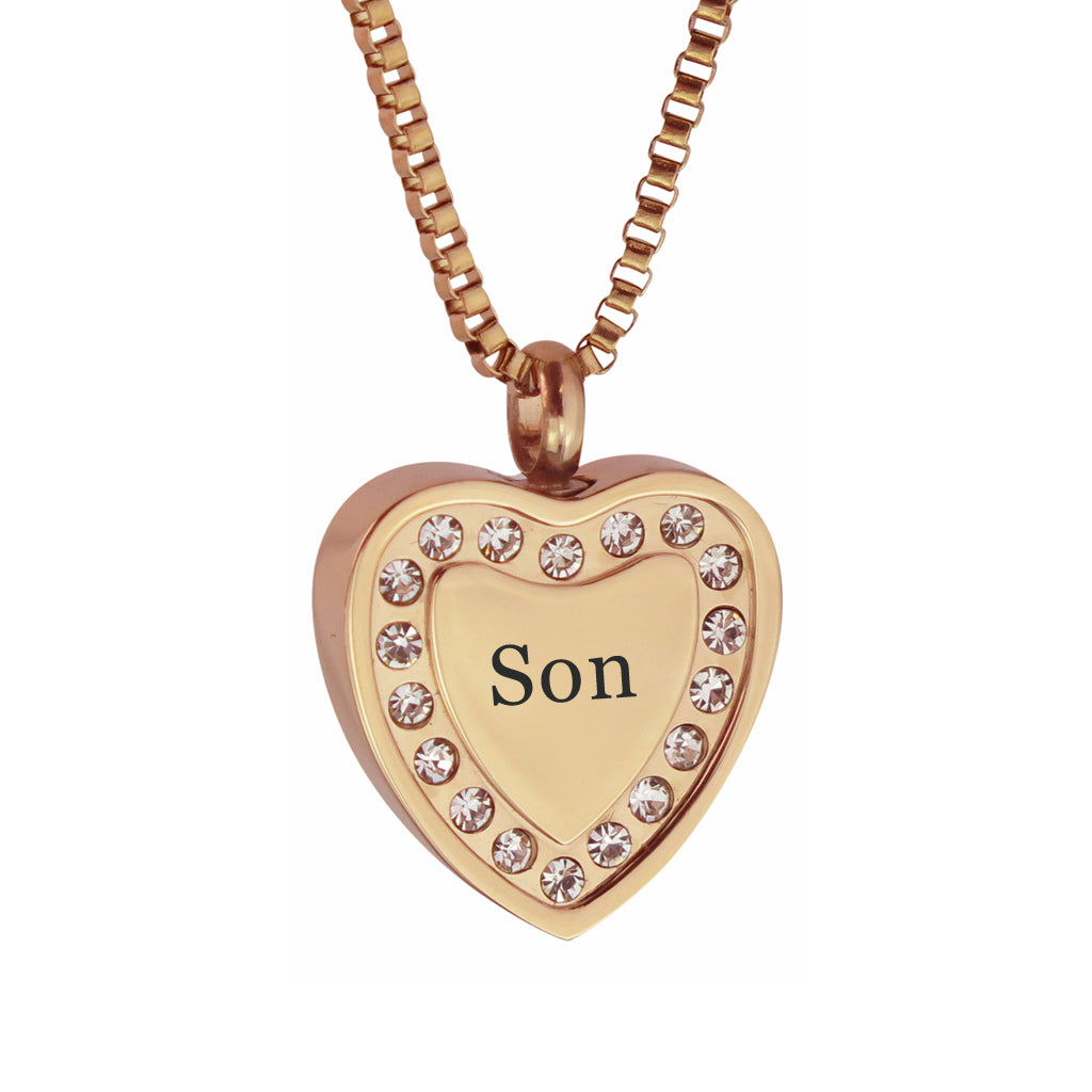 Son Crystal Rose Gold Heart Cremation Urn Pendant