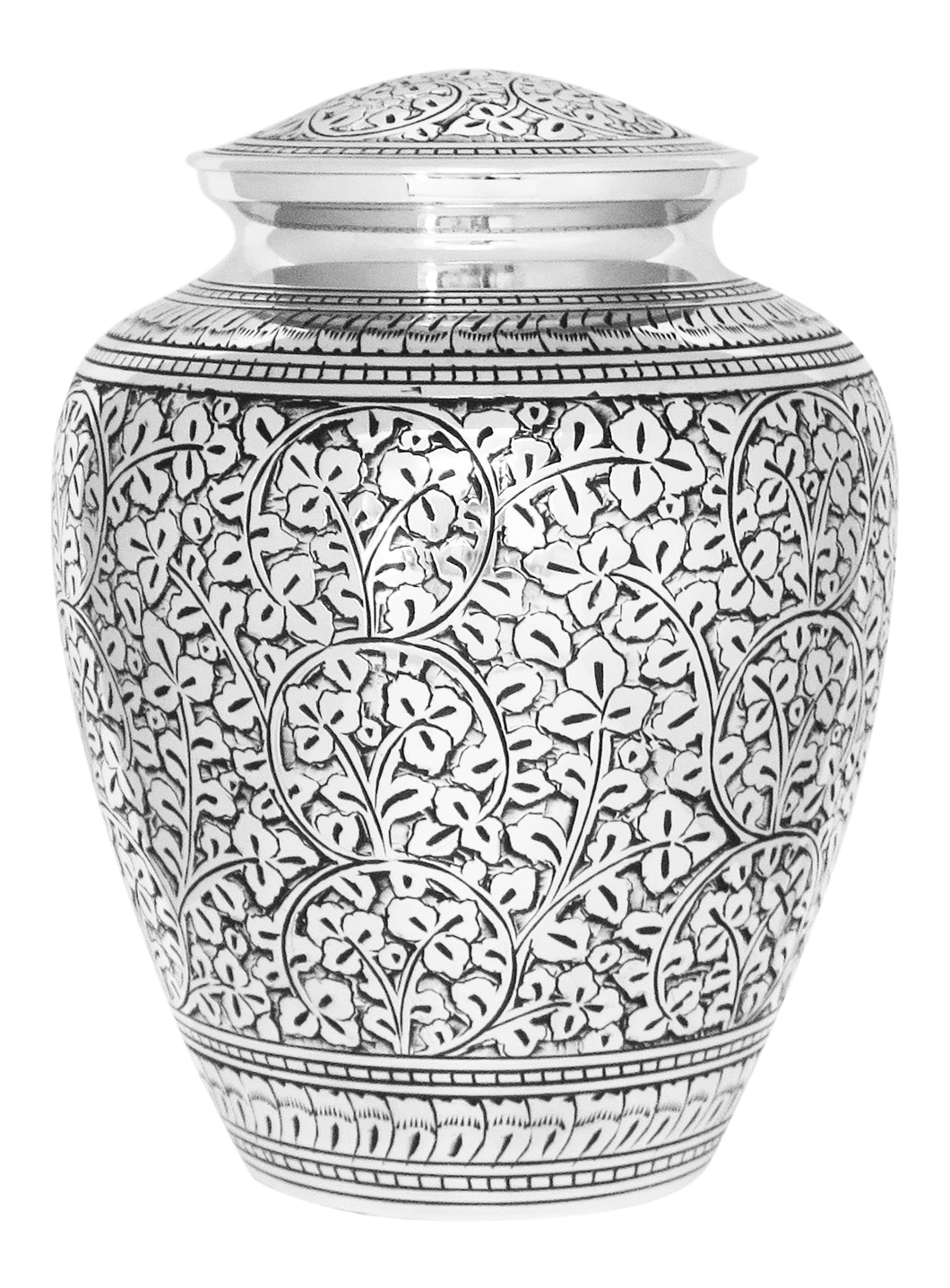 Large Silver Vintage Urn for Adult or Pet Ashes Cremains Memorial Funeral