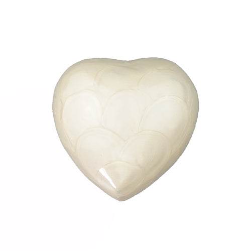 White Enamel Heart Keepsake Urn