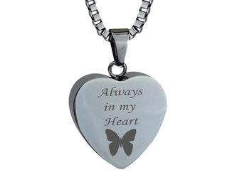 Always in my heart Butterfly Cremation Urn Pendant