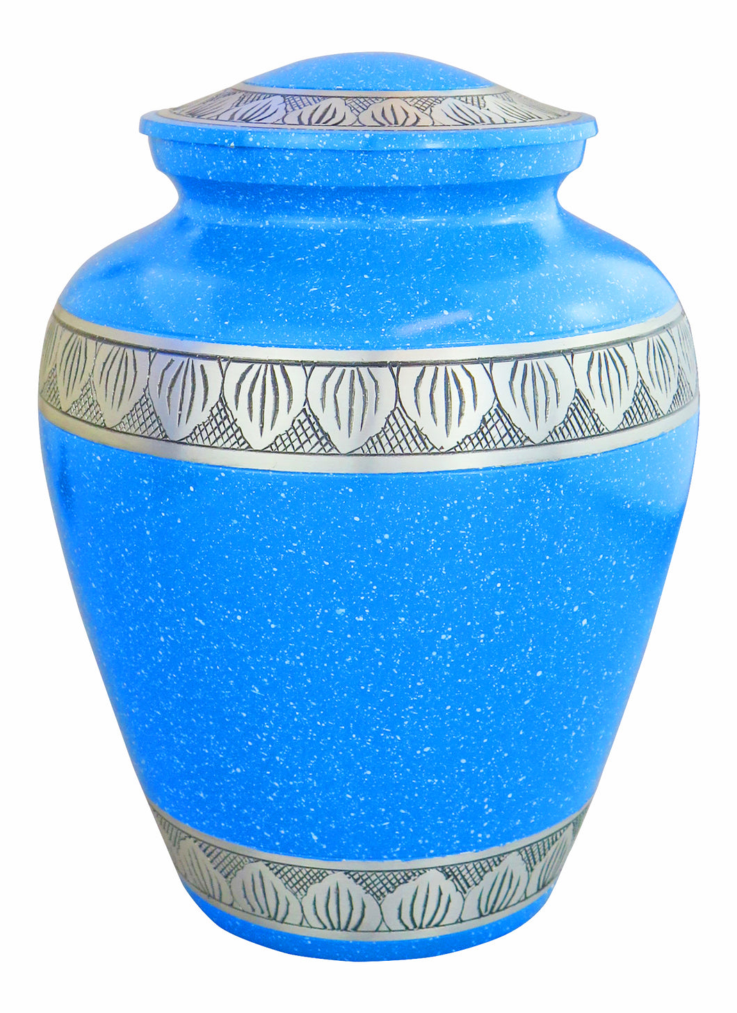 Large Aluminium Blue & Silver Adult Urn