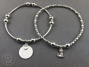 Sterling Silver Cat Design Stacking Bracelet