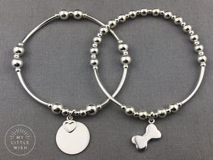 Sterling Silver Dog Bone Stacking Bracelet