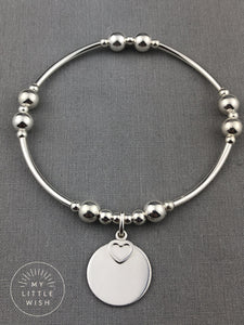 Sterling Silver Blank Engravable Disc with a Small Open Heart Stacking Bracelet