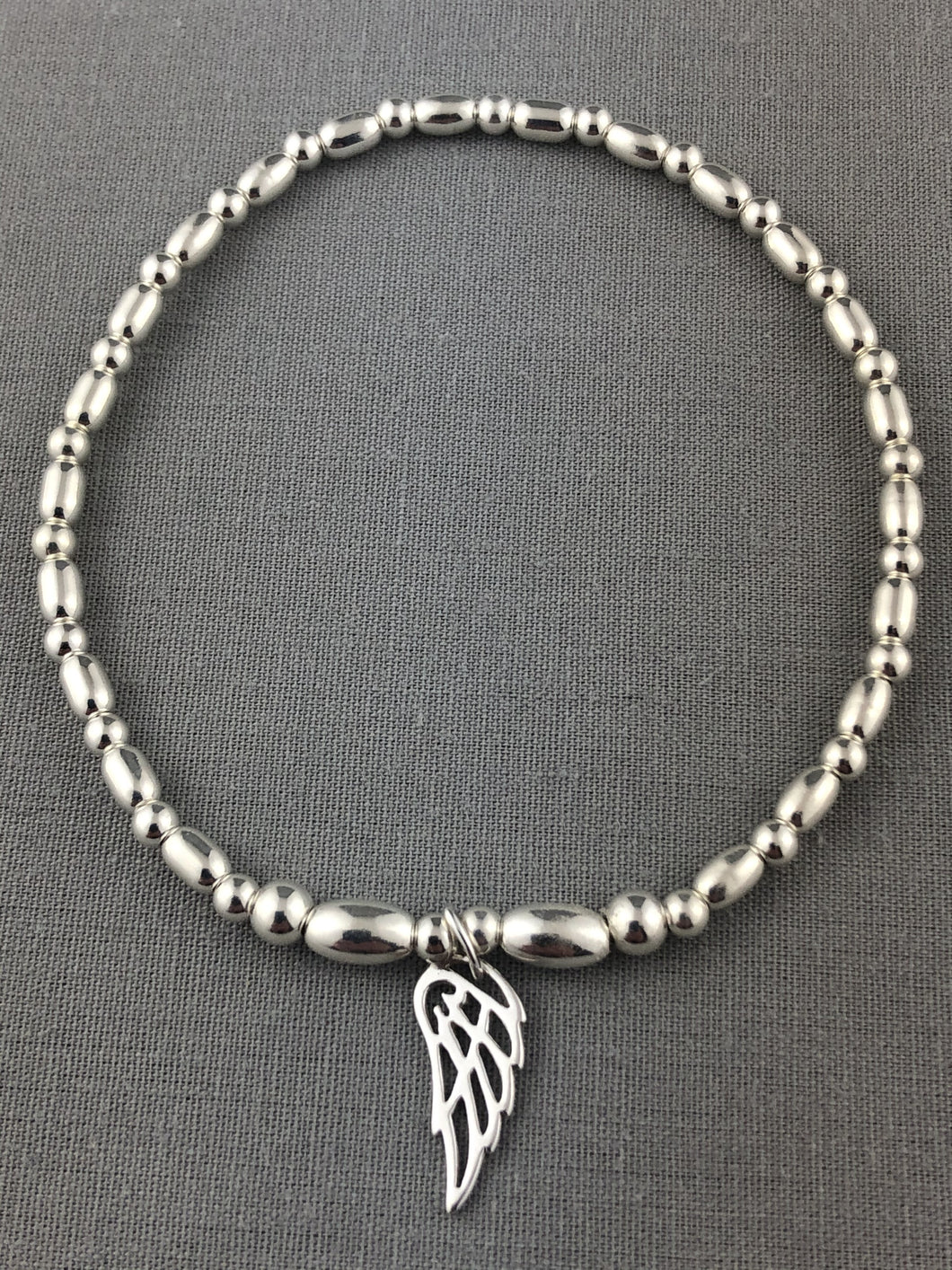 Sterling Silver Angel Wing Stacking Bracelet