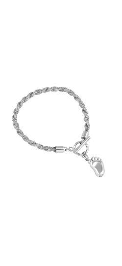 Silver Baby's Footprint Urn Bracelet with Optional Personalised Engraving