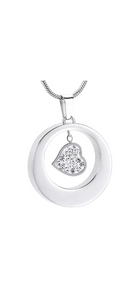 Silver Heart Charm Circle Cremation Urn Pendant - Optional Personalisation