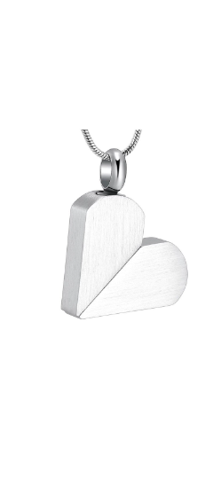 Silver Rotatable Heart to Tag Cremation Urn Pendant - Optional Personalisation