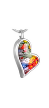 Teardrop Heart Murano Glass Cremation Urn Pendant - Optional Personalisation