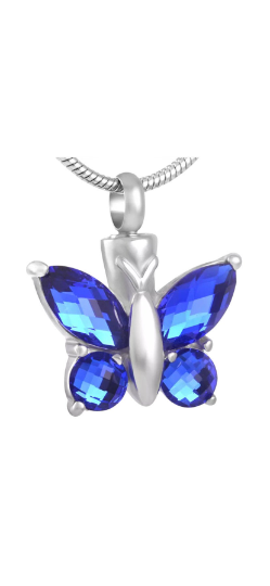 Blue Butterfly Cremation Urn Pendant