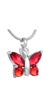 Red Butterfly Cremation Urn Pendant