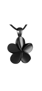 Black Five Petaled Flower Cremation Urn Pendant