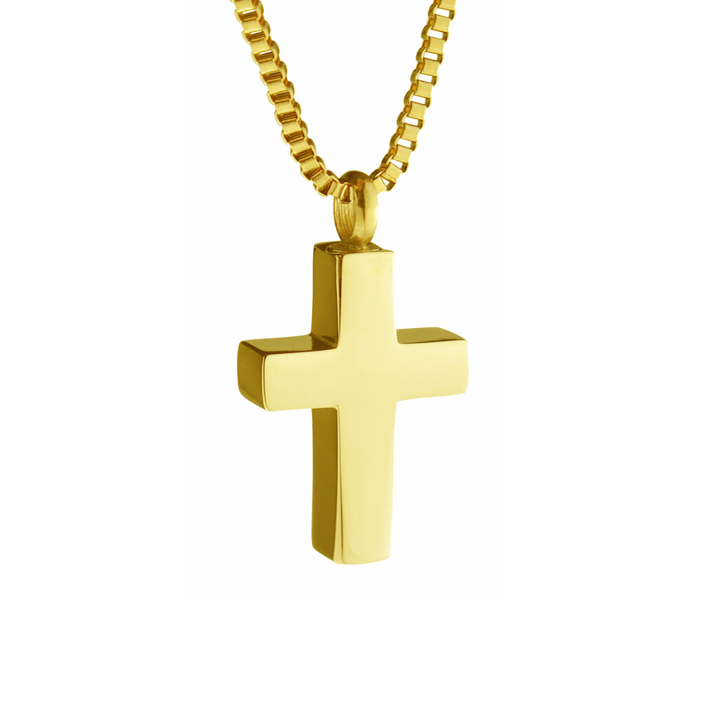 Gold Classic Cross Cremation Urn Pendant