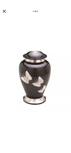 Large Silver Butterfly Black Adult Brass Urn