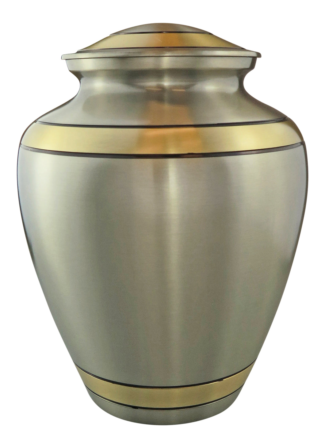 Large Silver with Gold & Black Adult Brass Urn