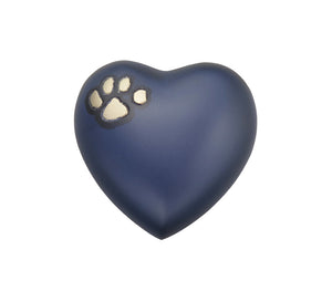 Golden Paw on Blue Heart Brass Keepsake Urn