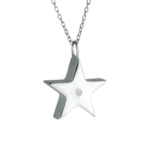 Sterling Silver Crystal Star Cremation Urn Pendant
