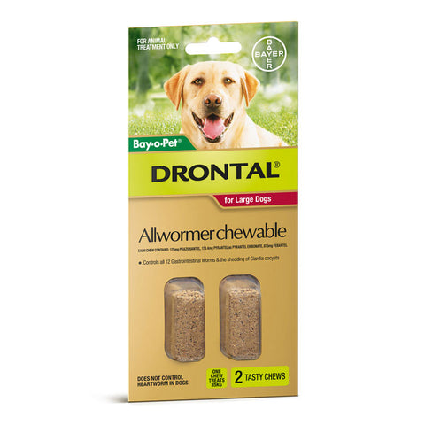 Drontal Allwormer Chew Large Dogs 2pk