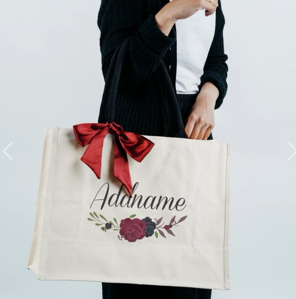 Rose Bag with Black Shoulder Handle