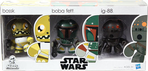 Star Wars Mighty Mini Muggs Vinyl Figure 3 Pack Bossk, Boba Fett & IG-88