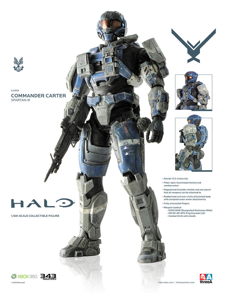 Halo Commander Carter Spartan-III 3 1/6 Scale Figure ThreeA