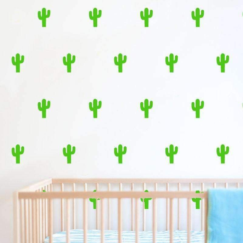 24 pcs Little Cactus Pattern Stickers for Wall Decoration SHAPE meets COLOR