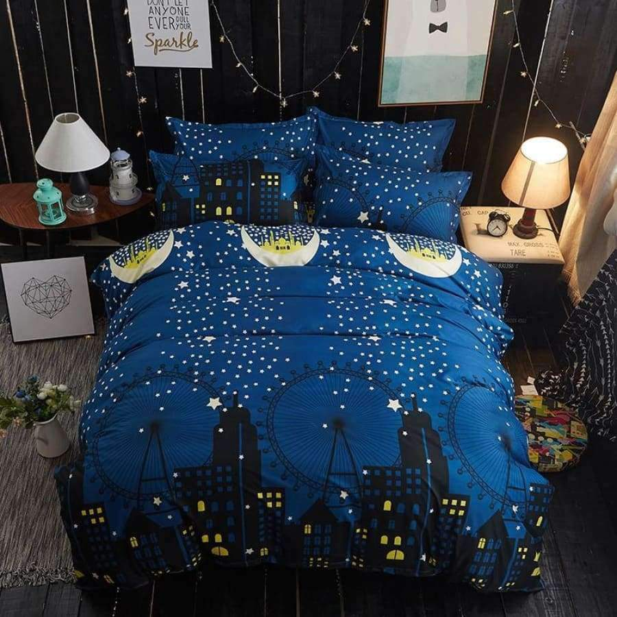 A Blue Night Story Bedding set SHAPE meets COLOR