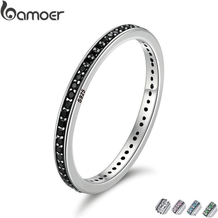 Authentic 925 Sterling Silver Stackable Ring - 2 Colors SHAPE meets COLOR