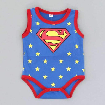 Awesome Cartoon Baby Rompers - Several Designs SHAPE meets COLOR Sleeveless superman 3M