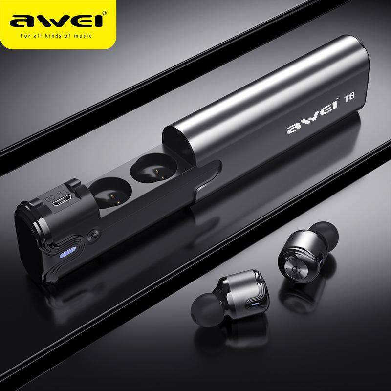 Bluetooth Earphone Wireless Earbuds With Power Bank Dual Microphone AWEI T8 SHAPE meets COLOR