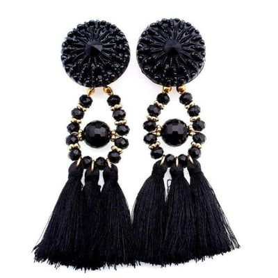 Boho Dangle Fringe Earrings jewlery SHAPE meets COLOR Black Dangle Earrings