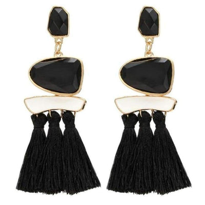 Boho Dangle Fringe Earrings jewlery SHAPE meets COLOR Black Drop Earrings