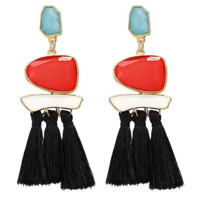 Boho Dangle Fringe Earrings jewlery SHAPE meets COLOR Black Red Drop Earrings